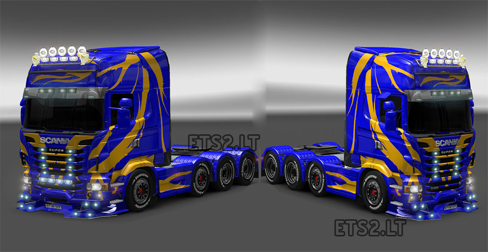 Blue scania with yellow lines skin
