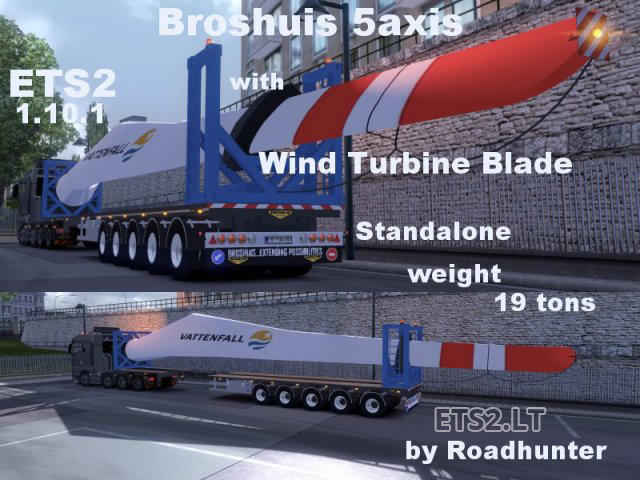 broshuis 5 axis trailer with wind turbine blade ets 2 mods