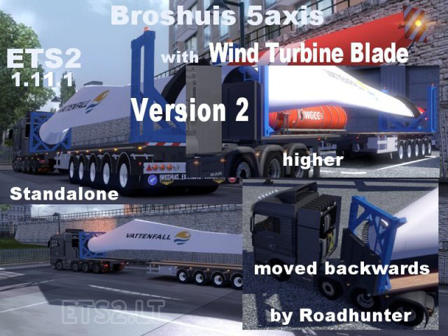 broshuis 5 axis trailer with wind turbine blade v 2 0 ets 2 mods