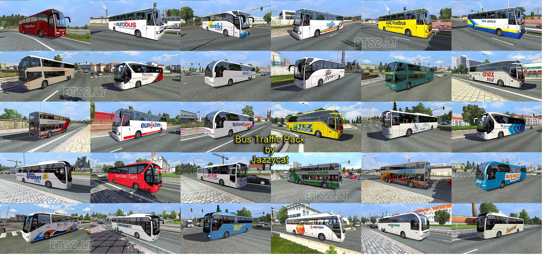 Bus traffic pack by Jazzycat v1 1 | ETS 2 mods
