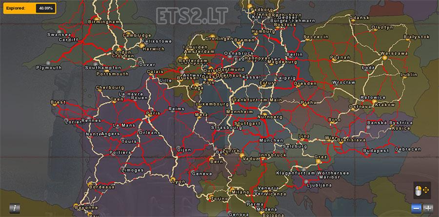 Road Atlas Map Backgrounds for ETS2, ProMods, TSM | ETS 2 mods