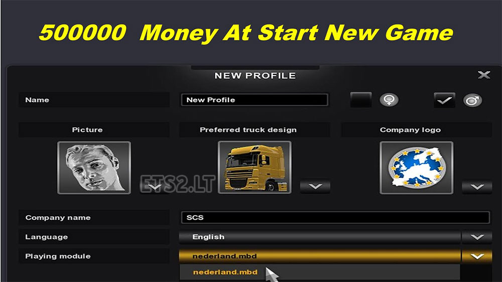 500000 Money At Start New Game | ETS 2 mods