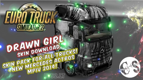 Drawn Girl Skin Pack for All Trucks + New Mercedes Actros MPIV 2014 + Volvo Ohaha