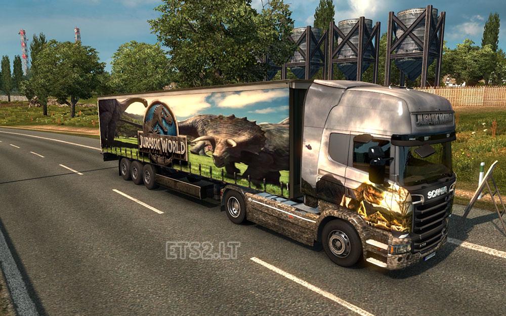 Jurassic world truck and trailer combo