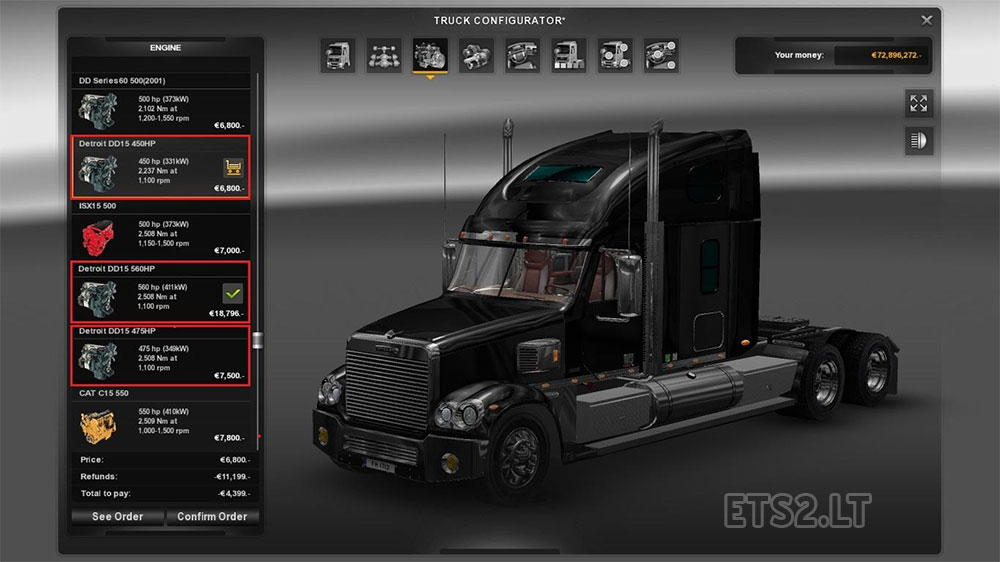 Coronado Detroit DD15 Engines | ETS 2 mods