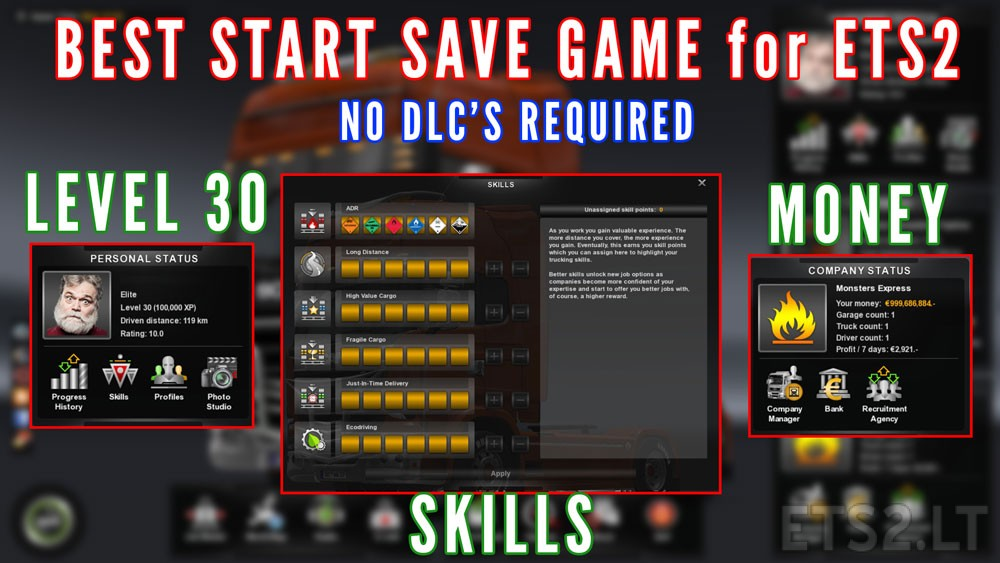Best Start Save Game With Money And Skills Ets2 Mods