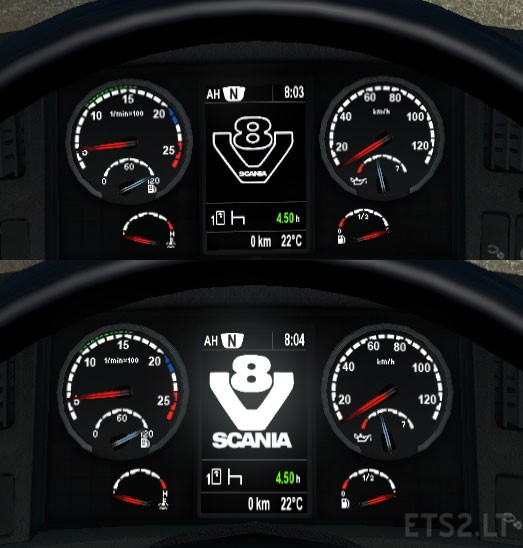 Assez Scania V8 Dashboard fix for 1.23 | ETS 2 mods EU87