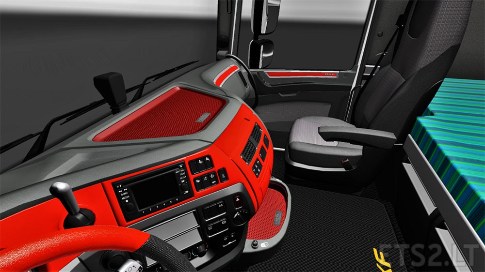 Custom Red interior for DAF XF Euro 6 | ETS 2 mods