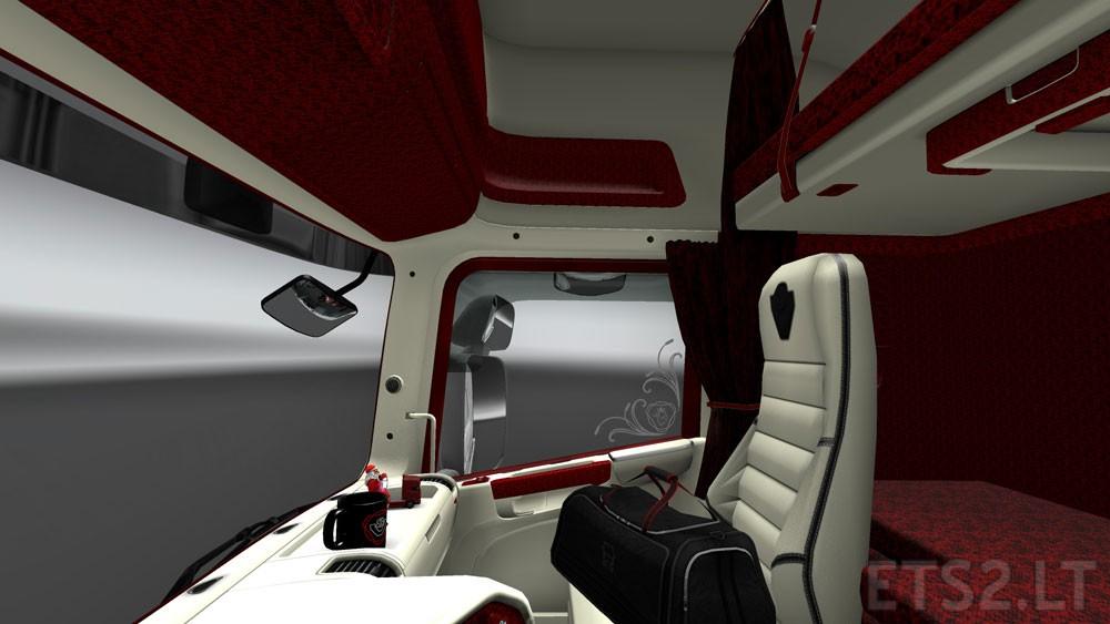 Scania rjl white interior ets 2 mods - Scania Interior Red Tones Euro Truck Simulator 2 Mod