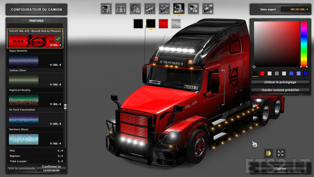 Volvo VNL 670 Black & Red Skin | ETS 2 mods