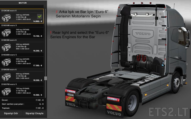 New Volvo FH16 Accessories + Interior v 2 2 | ETS 2 mods