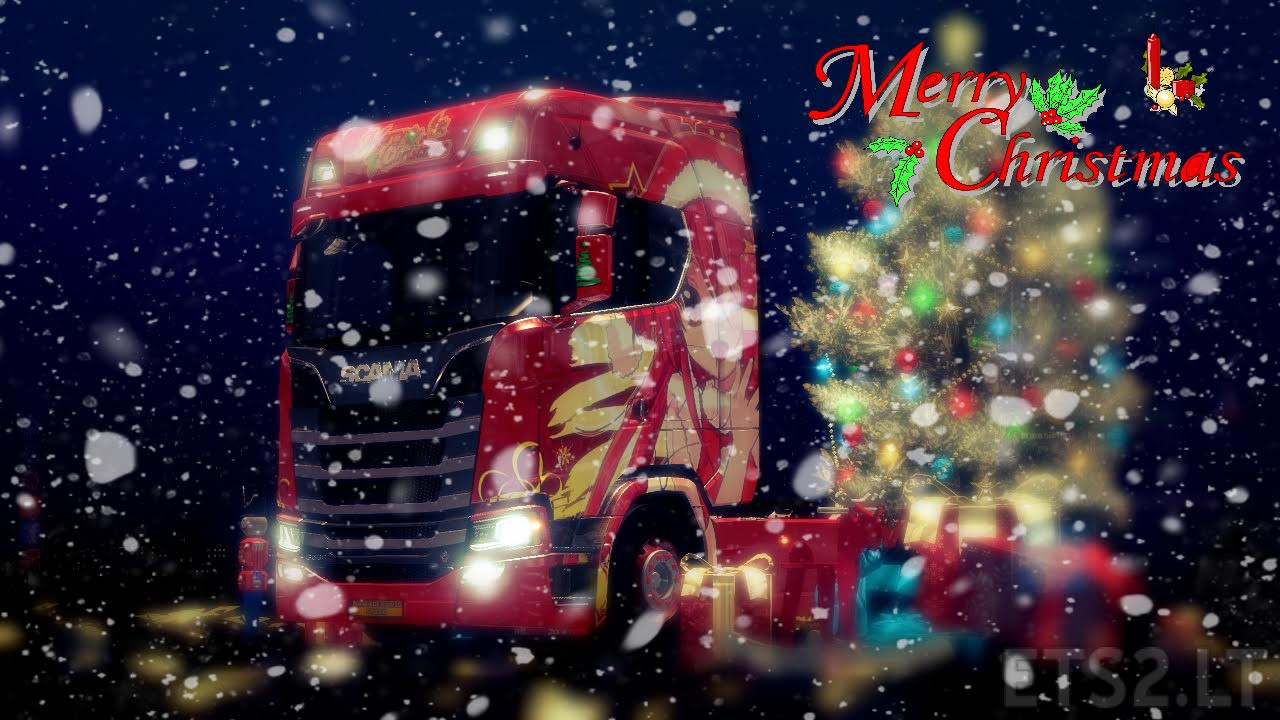 Scania S Series Merry Christmas Anime Skin