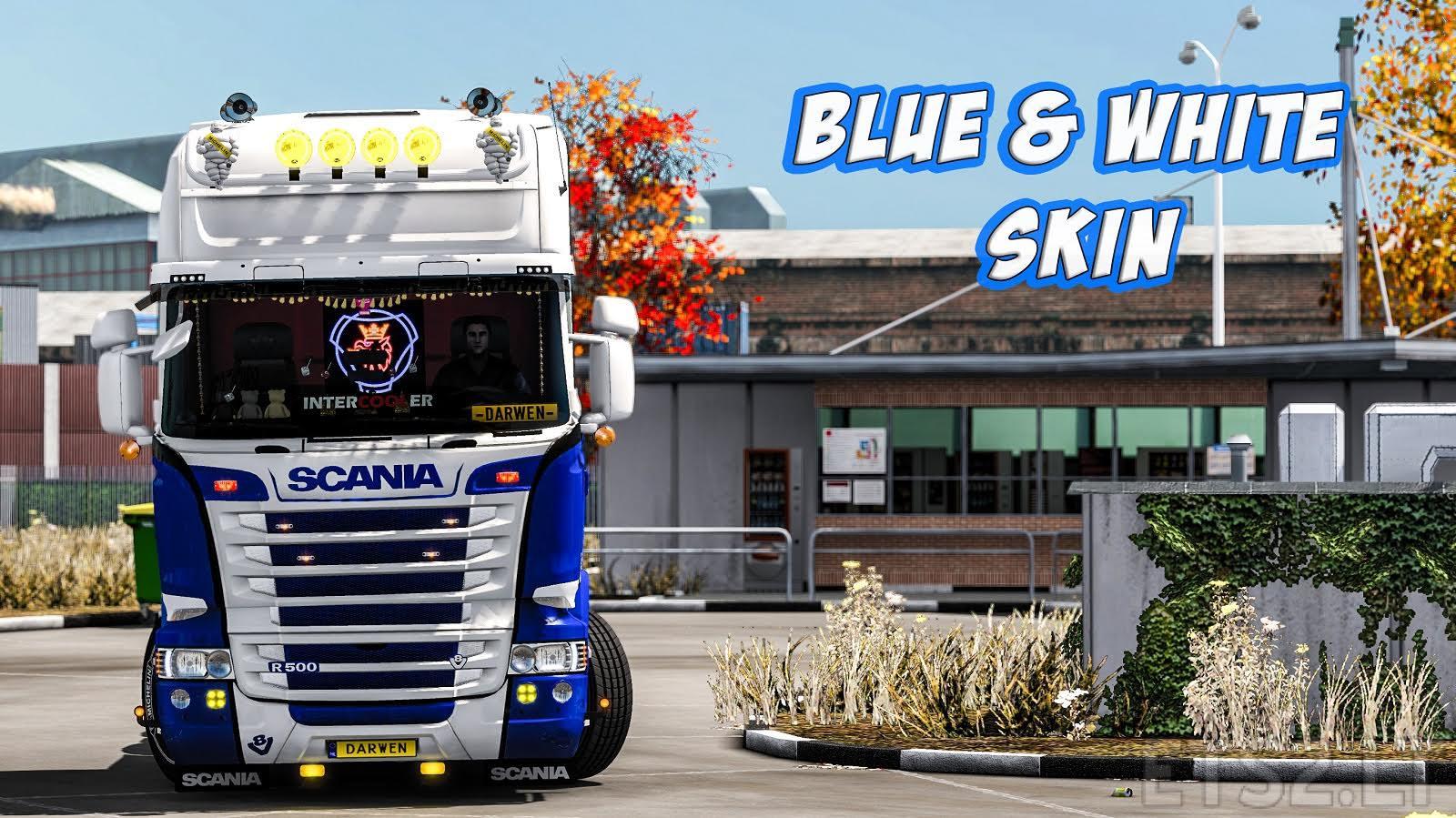Scania rjl topline blue white skin