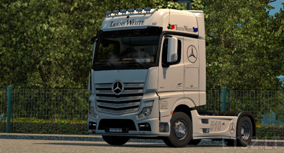 trans white mercedes actros mp4 skin ets 2 mods. Black Bedroom Furniture Sets. Home Design Ideas