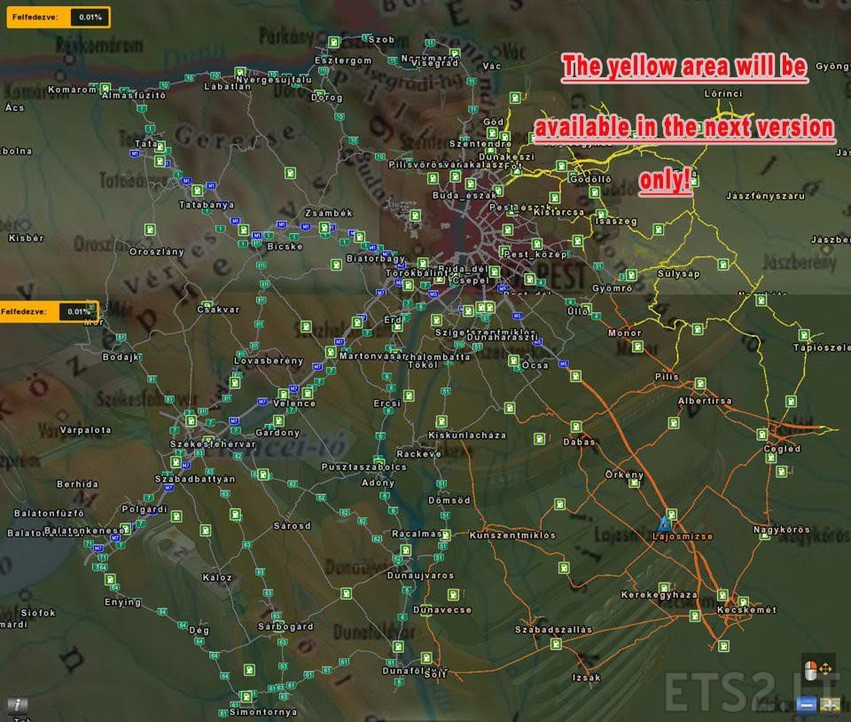 THE MAP OF HUNGARY V0.9.28A [1.27.X] | ETS 2 mods Map X on