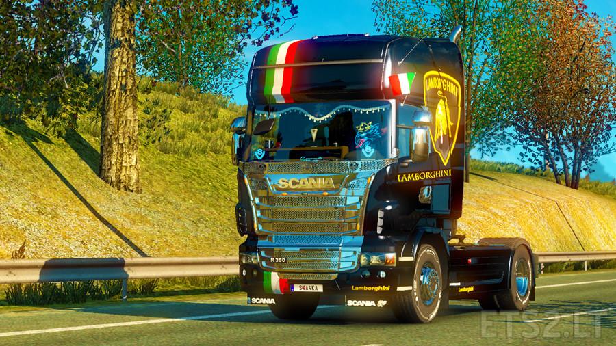 Skin Lamborghini For Scania R Ets 2 Mods