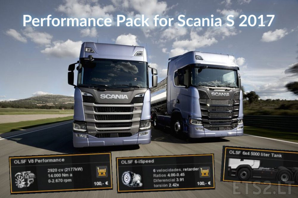 Performance Pack for Scania S 2017 (Engine+Gearbox+Fuel Tank