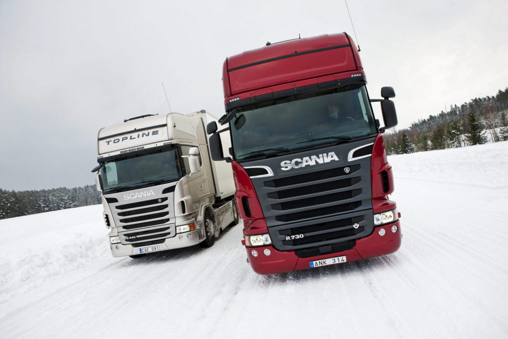 White And Red Truck Scania V8 Wallpaper High Definition