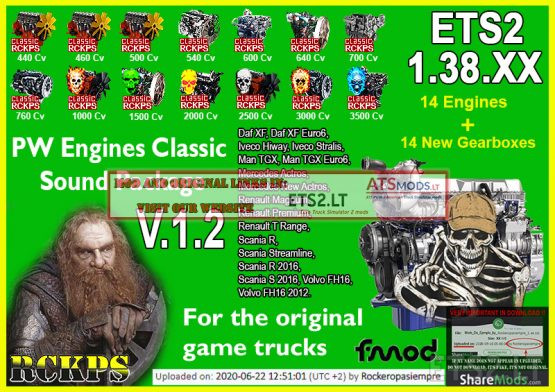 PW Engines Classic Sounds Pack V.1.2 para ETS2 1.38.XX