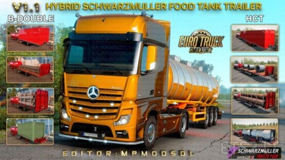 Hybrid Schwarzmuller Food Tank Trailer Mod v1.1 For ETS2 Single-Multiplayer