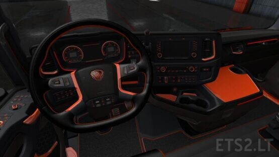 Scania S and R Black Orange Interior