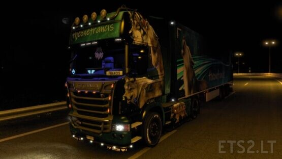 The Wolf Scania R 2009 Combo skin (All standard 136 trailers)