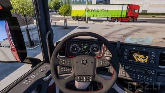 Scania Alcantara steering wheel & Truck Seat V1.0